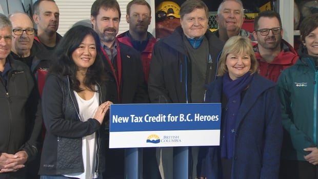 B.C.'s Minister of State for Emergency Preparedness Naomi Yamamoto, fourth from left, is joined by other MLAs and volunteers on Feb. 11, 2017 for an announcement about a tax credit potentially worth up to $151.80 a year.