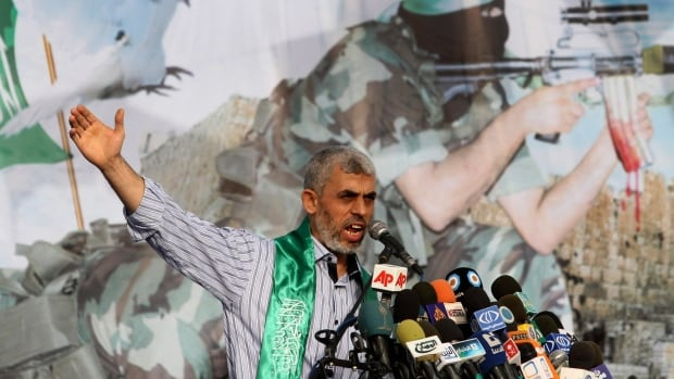 Yehiya Sinwar, seen here during a 2011 rally in southern Gaza Strip, helped found the military wing of Hamas, which controls thousands of fighters and a vast arsenal of rockets and has battled Israel in three wars since Hamas seized Gaza a decade ago.