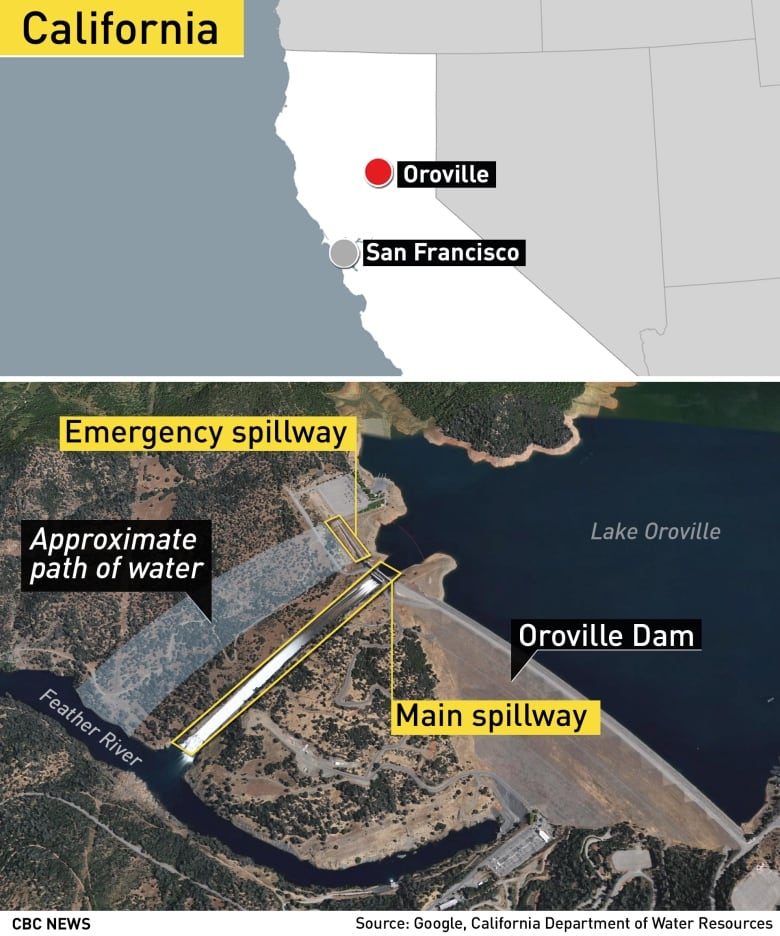 Map Of California Oroville Dam.What To Know About California S Failing Oroville Dam Cbc News