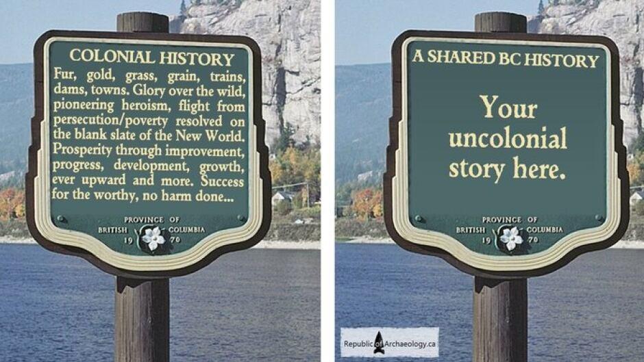 Archaeologist 'decolonizes' B C 's road signs via Photoshop   CBC News
