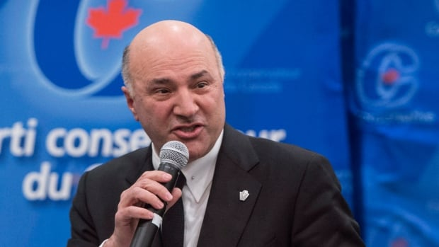 Conservative leadership candidate Kevin O'Leary addresses the debate on Monday night in Montreal.