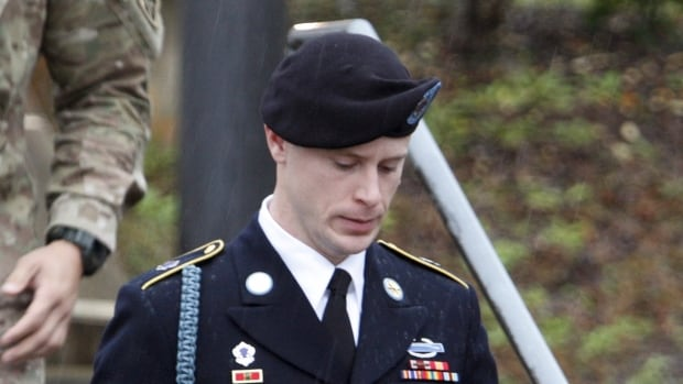 U.S. Army Sergeant Bowe Bergdahl is shown leaving a courthouse after an arraignment hearing for his court-martial in Fort Bragg, N.C., on Dec. 22, 2015.