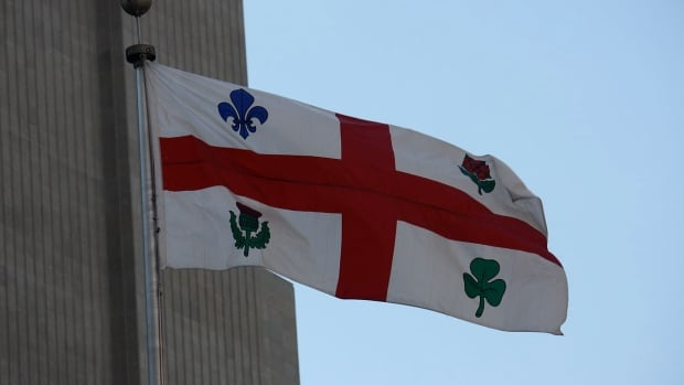 Montreal's current flag makes reference to the city's Irish, Scottish, English and French heritage.
