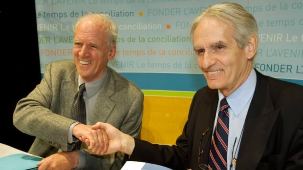 Philosopher Charles Taylor, left, and sociologist Gérard Bouchard released their recommendations in a report on Quebec identity and minority rights in May 2008. They are not impressed by Quebec's new law on face coverings.