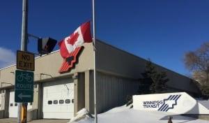 Winnipeg Transit flag at half mast