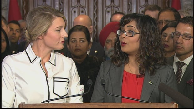 Heritage Minister Melanie Joly and Liberal MP Iqra Khalid hold a news conference on Parliament Hill today ahead of debate on M-103, which calls on the government to condemn Islamophobia.