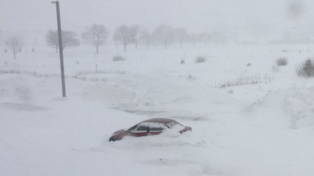 Parked car in blizzard, Charlottetown, Feb. 16