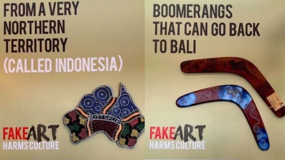 These posters from the Arts Law Centre of Australia call attention to foreign-made products being sold as Indigenous art in Australia.