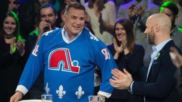 Eric Lindros sports a Quebec Nordiques jersey during a recent appearance on Quebec television.