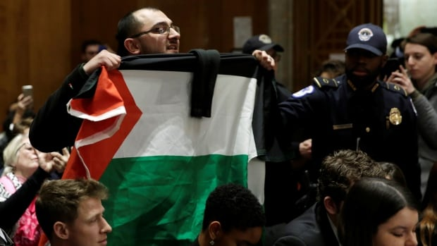 A protester holds a Palestinian flag during a Senate Foreign Relations Committee hearing on David Friedman's nomination to be U.S. ambassador to Israel on Thursday.