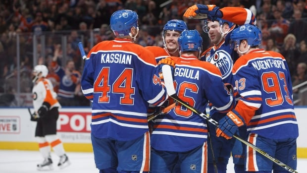 Six different players on the Edmonton Oilers scored on Thursday, giving the team a 6-3 victory over the Philadelphia Flyers.