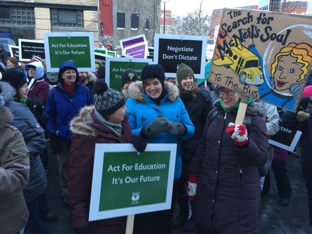 Nova Scotia teachers protest outside of Province House