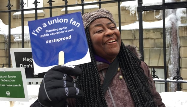 A supporter of Nova Scotia's striking teachers