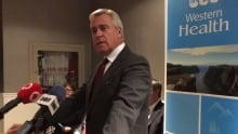 Dwight Ball at corner brook hospital announcement