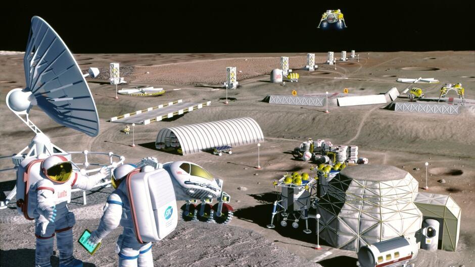 Lunar mining, an artist's concept.