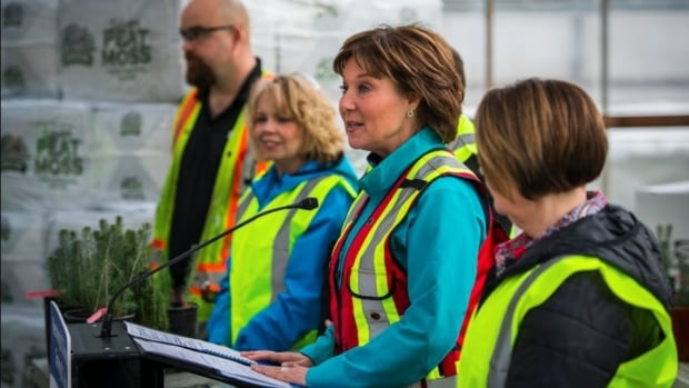 Christy Clark speaks at the Canfor Nursery in Prince George on Feb. 17, 2017, to announce a $150 million investment in the Forest Enhancement Society.