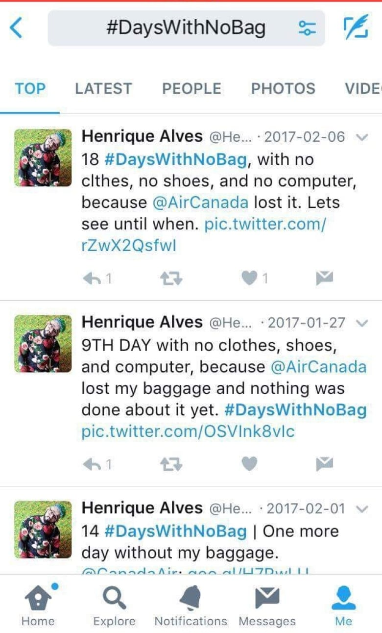 59a2a197aa5c Henrique Alves de Assis Twitter campaign counts the days until he is  reunited with his lost luggage (he hopes). (CBC News)