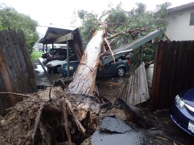 California 'weather bomb': at least two dead as torrential rain hits state