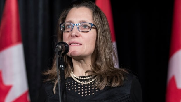 Chrystia Freeland told a Toronto audience Tuesday that if and when NAFTA renegotations begin, they will be three-way negotiations. Canada's ties with Mexico remain strong, the foreign affairs minister said.