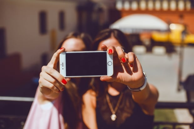 Young people selfie stock image