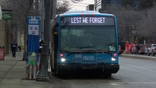 Saskatoon lest we forget transit bus
