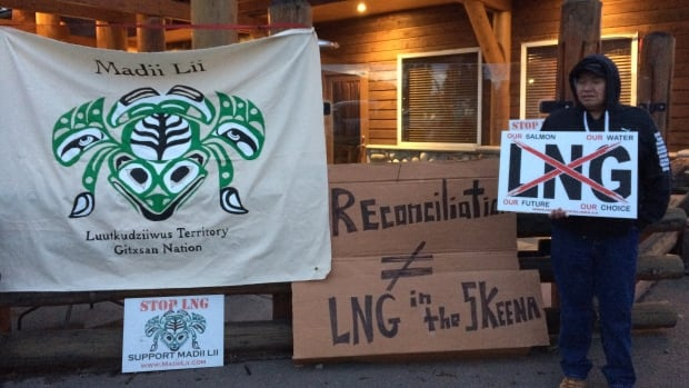 Members of the Gitxsan Nation protest liquefied natural gas development in northern British Columbia.