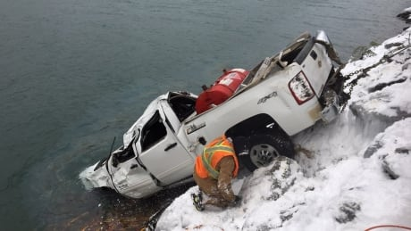 'I'm not dying this way': Kelowna father describes swimming to safety after truck slides into icy lake