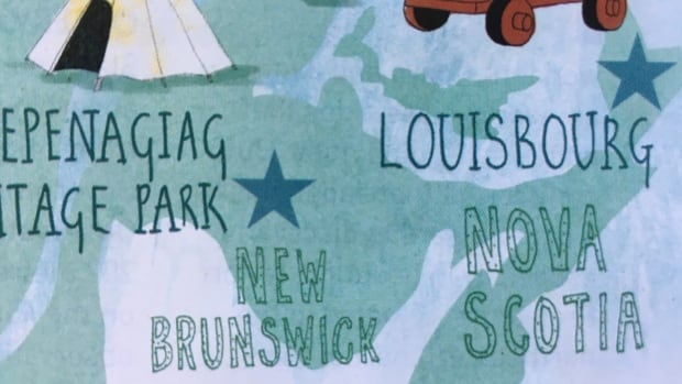 The map labels New Brunswick and Nova Scotia, but not P.E.I.