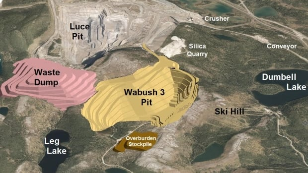 This is a 3D image of the proposed Wabush 3 extension mine project in western Labrador.