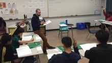 Mark Gallant, EAL teacher with grade 7 and 8 students at St.John's School