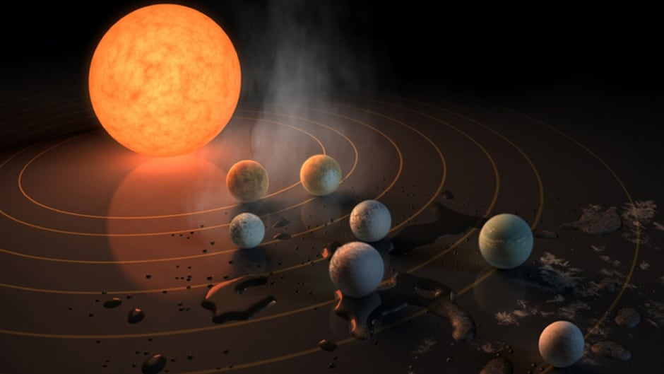 The TRAPPIST-1 star, an ultra-cool dwarf, has seven Earth-size planets orbiting it. This artist's concept appeared on the cover of the journal Nature on February 23, 2017 announcing new results about the system. Any of these planets could have liquid water on them.