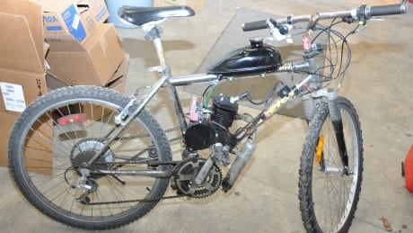 Gas-powered motorized bicycle Brockville police Feb 23 2015