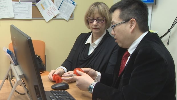 Dr. Deborah Thompson and Dr. Robert Chen examine heart models made with a 3D printer.