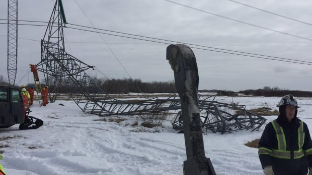 A photo from Lundar, Man. shows a Bipole II tower downed by an accident.