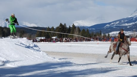 Skijoring: The sport of skiing an obstacle course behind a horse