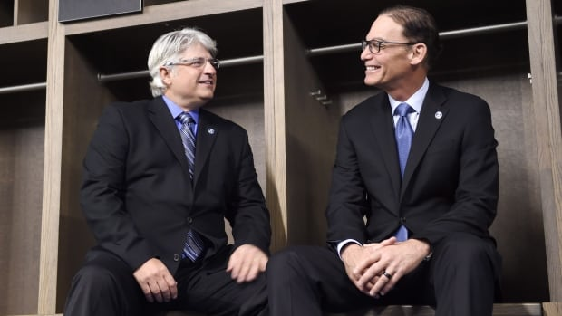 The Argos have hired Jim Popp, left, as their new general manager while Marc Trestman, right, has been named the club's new head coach.