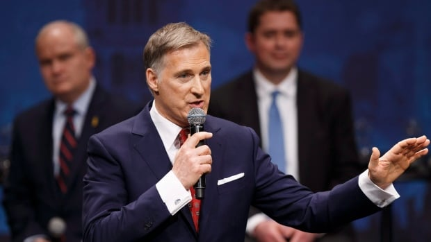 Maxime Bernier was one of 13 candidates at the Conservative leadership debate at the Maclab Theatre in Edmonton on Tuesday, in a sparring match that continued to feature the political manoeuvring that has dominated previous debates.