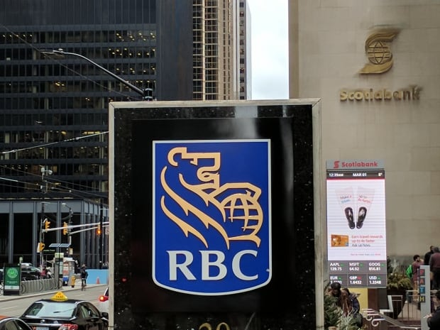 Royal Bank, Soctiabank with TD's black tower in background at King and Bay, Toronto