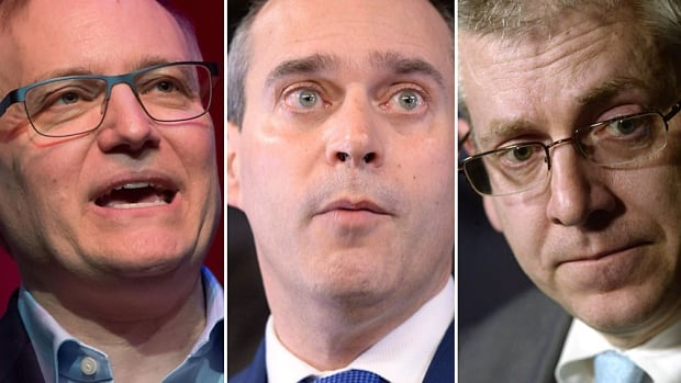 Current NDP leadership contenders are, from left, Peter Julian of B.C., Guy Caron of Quebec and Ontario's Charlie Angus.