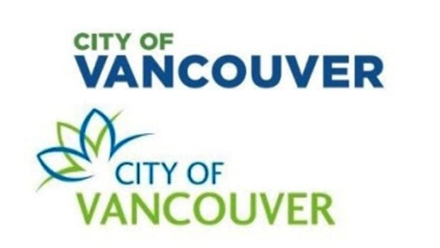 A new City of Vancouver logo, shown at the top, was commissioned to replace the former logo, shown just below it.