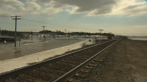 A section of provincial Route 106, which is under the water to the immediate left of the rail line, flooded earlier this year.