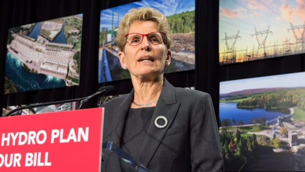 Ontario Premier Kathleen Wynne speaks during a press conference in Toronto on March 2, 2017. The Liberal government unveiled its plan earlier this month to cut hydro bills, which are the biggest political issue it faces less than a year-and-a-half away from an election.