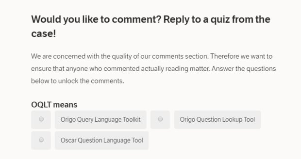 Website makes readers answer quiz before commenting to deter ranters