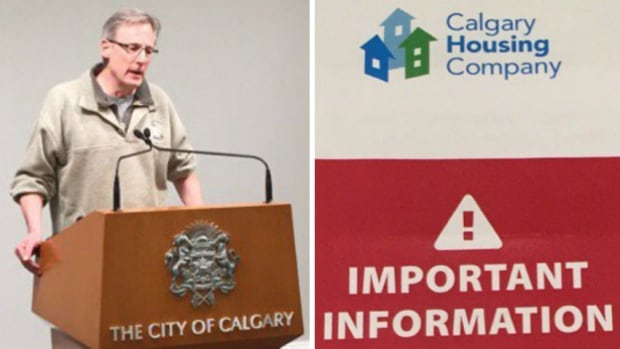Coun. Brian Pincott, who sits on the Calgary Housing Company board, gave an update on the security breach Thursday morning. A pamphlet outlining the issue, pictured at right, is being distributed to affected tenants.