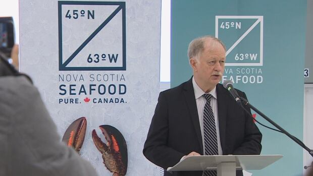 Fisheries and Aquaculture Minister Keith Colwell announces the province's new seafood branding program.