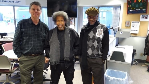 Thunder Bay filmmaker Ron Harpelle (left) produced a film called 'Hard Time' about Robert King's (right) 29 years in solitary confinement. King and Albert Woodfox (centre) spoke in Thunder Bay about solitary confinement and social justice.
