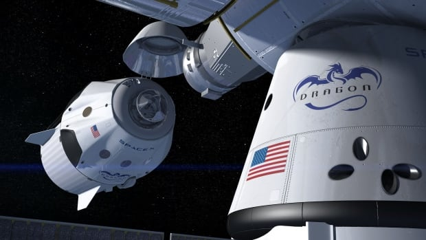 This artist's concept shows a SpaceX Crew Dragon docking with the International Space Station, as it will during a mission for NASA's Commercial Crew Program. NASA is partnering with Boeing and SpaceX to build a new generation of human-rated spacecraft capable of taking astronauts to the station and back to Earth, thereby expanding research opportunities in orbit.