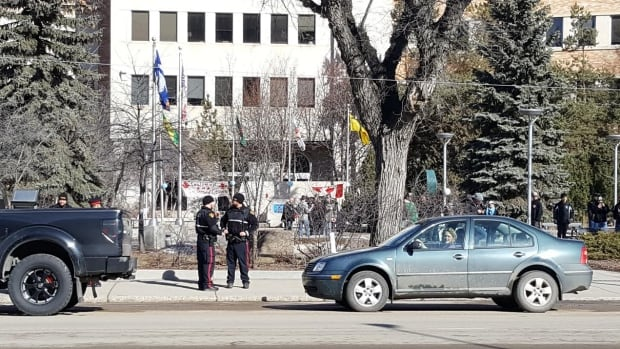 Police at CCCC rally in Saskatoon