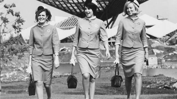 Expo 67 hostesses Danièle Touchette, Jean Murin and Lyse Michaud photographed