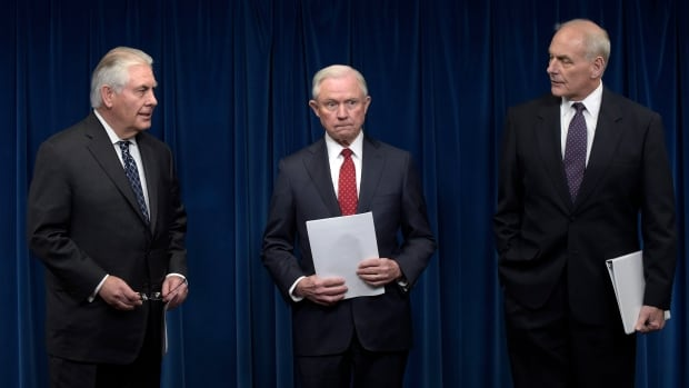 From left, U.S. Secretary of State Rex Tillerson, Attorney General Jeff Sessions and Homeland Security Secretary John Kelly, appeared at a news conference to announce the revised temporary travel ban framed as a security measure against terrorism.